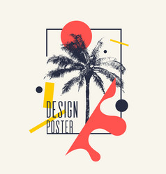 Vintage poster with palm tree and geometric shapes vector