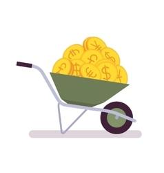 Wheelbarrow full of coins vector