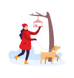 winter activities girl walking with dog and vector image
