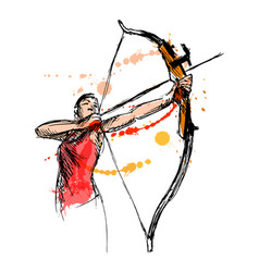 Woman shooting a bow and arrow vector