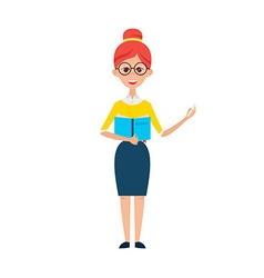 Woman Teacher with Glasses and Book vector image