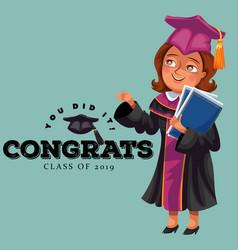 You did it congrats class 2019 flat poster vector