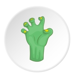 Zombie hand icon cartoon style vector