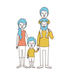 caricature color sections and blue hair of family vector image