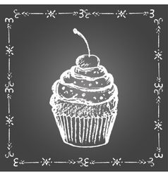 Chalk cupcake with sprinkles and cherry vector image vector image