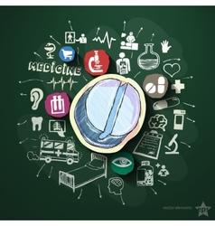 Medical collage with icons on blackboard vector image vector image