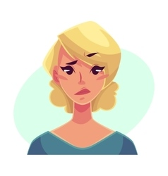 Pretty blond woman upset confused facial vector image vector image