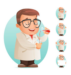 scientist with test-tube icon retro 3d cartoon vector image vector image