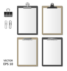 set of realistic clipboards with blank white paper vector image