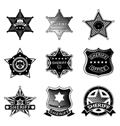 Set of sheriff or marshal badges and stars vector image vector image