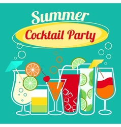 Summer cocktails party template vector image