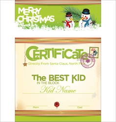 Certificate template the best kid vector image vector image