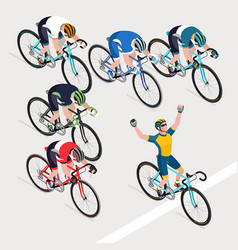 group of mans is cyclists in road bicycle racing vector image