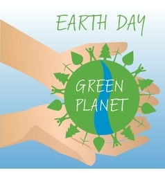 Human hands holding Earth save earth concept vector image vector image