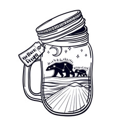 printing with a beautiful jar and northern bear vector image vector image