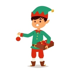 Santa Claus kid cartoon elf helper vector image