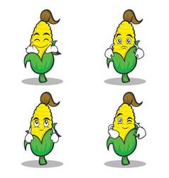 sweet corn character cartoon of set vector image