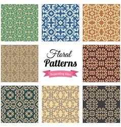 Abstract seamless floral patterns set vector image vector image