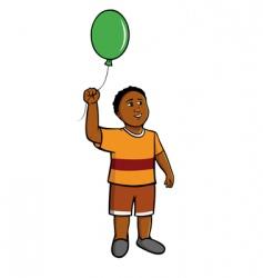 black boy green balloon vector image vector image