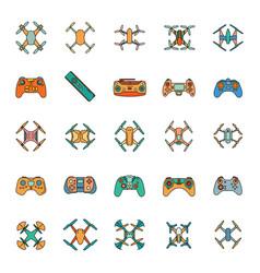 cartoon drone icons set vector image vector image