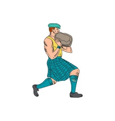 Stone Throw Highland Games Athlete Drawing vector image