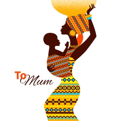 Beautiful silhouette of african mother and baby vector image