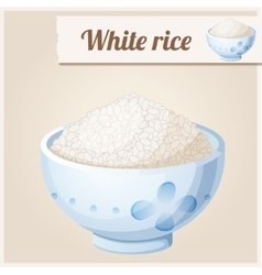 Bowl of white rice Detailed Icon vector image