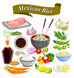 food and spice ingredient for mexican rice bowl vector image vector image