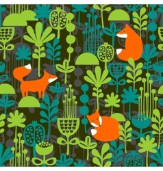 Fox in night forest seamless pattern vector image