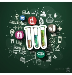 Healthcare collage with icons on blackboard vector image vector image
