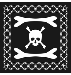 Skull and bones pattern brush with corner vector image