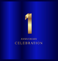 1 year anniversary celebration gold blue template vector