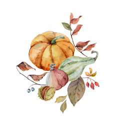 A watercolor bouquet for thanksgiving vector