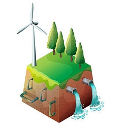 A windmill and water pipes vector image