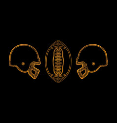 American football golden helmets and ball vector