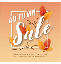 Autumn sale square banner background vector