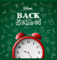 back to school background with red alarm clock vector image