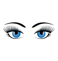 Beautiful ice blue female eyes with eyelashes vector