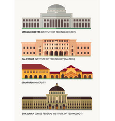 best national universities flat buildings of vector image