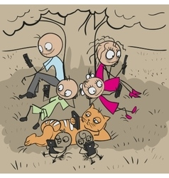 Big family under tree Everyone looks at phone vector