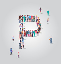Big people crowd gathering in shape letter p vector