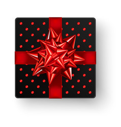 black square gift box with big shiny red bow vector image
