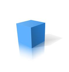 Blue cube 3d vector