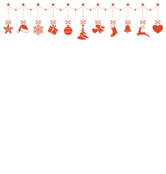 Border of hanging christmas ornaments vector