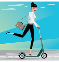 Business woman rides a scooter vector