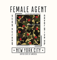 camouflage female t-shirt vector image
