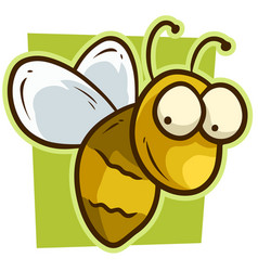 cartoon cute yellow smiling bee icon vector image