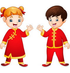 cartoon kids with chinese traditional costume vector image
