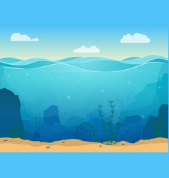 Cartoon sea underwater scene color background vector