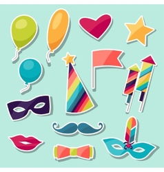 Celebration carnival set sticker icons and vector
